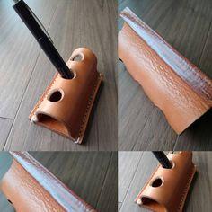 これだけなのに、指がぁ… ( ̄▽ ̄;) #革小物#leathercraft#レザークラフト#手縫い#ハンドメイド#ペンスタンド