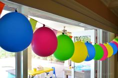 lalaloopsy party - hang balloons upside down as garland 9th Birthday Parties, Sports Birthday, Birthday Bash, Birthday Ideas, Hanging Balloons, Lalaloopsy Party, Party Rock, Get The Party Started, Luau Party