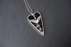 RISING LOVEMosaic artisan pendant. Black red by CrookedMoonMosaics
