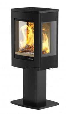 The Uno 1 wood burning stove by Nordpeis incorporates an elegant pedestal base, allowing you to enjoy the view of the flames at a higher level. With a superb heating efficiency of up to this contemporary wood burning stove will appeal to a variety Contemporary Wood Burning Stoves, Wood Burning Logs, Freestanding Fireplace, Freestanding Stoves, New Stove, Multi Fuel Stove, Concrete Wood, Modern Pictures, Haus
