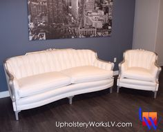 Vintage white sofa with fancy nails by Upholstery Works. Las Vegas, NV http://www.UpholsteryWorksLV.com