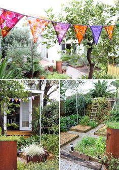 Mariana-garden - The Design Files Back Gardens, Outdoor Gardens, Garden Bunting, Chicken Garden, Veggie Patch, The Design Files, Garden Beds, Porch Garden, Veg Garden
