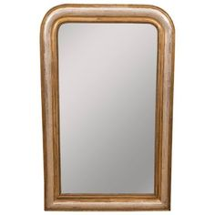 For Sale on - This Classic Louis Philippe mirror is unique in that it is finished in both silver leaf gold leaf. It features an inner beaded molding and delicate leaf Mercury Glass, Timeless Elegance, Gold Leaf, Beautiful Homes, Design Inspiration, Traditional, Contemporary, Wall, Silver