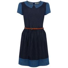 Oasis Olivia Patched Dress, Denim (25 CAD) ❤ liked on Polyvore featuring dresses, collared shift dress, blue collared dress, colorblock dress, blue dress and color block dress