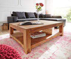 Couchtisch 120x80 cm Sheesham Natur Massivholz Ablage
