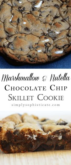 Marshmallow, Nutella & Chocolate Chip Skillet Cookie I kind of cried tears of joy just seeing the recipe title Skillet Chocolate Chip Cookie, Skillet Cookie, Chocolate Chip Cookies, Oreo Dessert, Eat Dessert First, Mini Desserts, Just Desserts, Nutella Recipes, Cookie Recipes