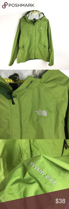 "The North Face Green Venture 2.5L Rain Jacket The North Face Venture lightweight rain jacket. Apple green. Taped seams. 100% nylon. Very good condition ** a couple small marks on left arm. See photo Size large Apx: 27"" long. 22"" underarm to underarm. The North Face Jackets & Coats"