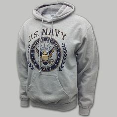 Shop our great selection of US Navy gear, including navy shirts, hoodies, hats, and more. Get Navy apparel for the whole family at Armed Forces Gear today! Sweatshirts Online, Hooded Sweatshirts, Hoodies, Military Love, Military Spouse, Navy Ranks, Navy Gear, Grey Sweatshirt, Graphic Sweatshirt