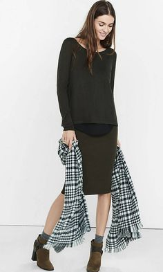 Crepe Lined Split Back Sweater from EXPRESS
