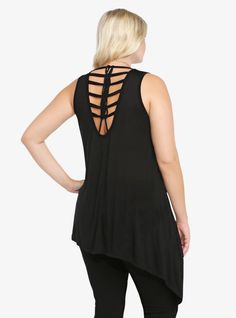Asymmetrical Macramé Back Tank // This would be fun to DIY from a large, graphic/band tee