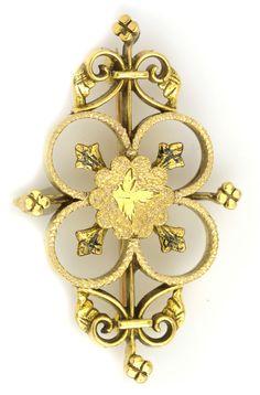 Gold Estate Brooch. Item #452-65816 Estate 14K Yellow Gold Pin Clover - Gem Shopping Network