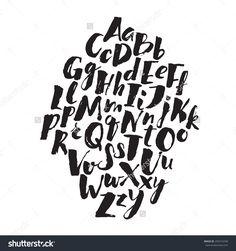 Handwritten Alphabet Written With Brush Pen. Abc Poster. Calligraphic Alphabet Poster. Letters Composition. Stock Vector Illustration 292415258 : Shutterstock