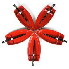 Set 5 barche per sushi nera interno rosso e bacchette nere - #monchic