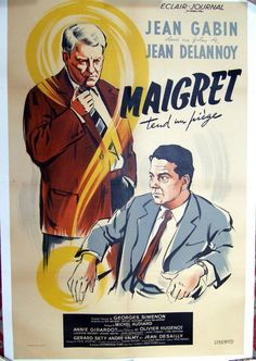 """""""Maigret tend un piège"""" (France, 1958) - a film by Jean Delannoy (with Jean Gabin in the role of Maigret)."""
