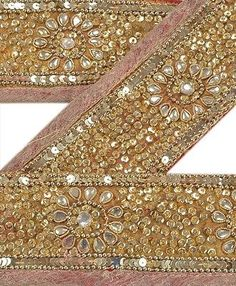 Antique-Vintage-Saree-Border-Hand-Beaded-Craft-Trims-Lace-3-W-Golden-Red