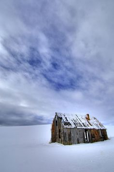 Forgotten Places - Old shack in a snow field, Idaho. Photo By James Neeley
