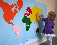 Felt Map of World Continents Kid & Baby Friendly. by EmIsCrafty