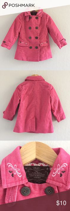 Toddler Girl Pink Peacoat from Old Navy Cute & well built girls peacoat from Old Navy. It has sweet embroidery details & faux wood buttons. It also has fun pop print lining inside! Size 18-24 months! Old Navy Jackets & Coats Pea Coats