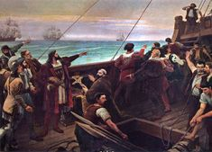Cabral (center-left, pointing) sights the Brazilian mainland for the first time on 22 April 1500. This Day in History: Apr 22,1500: Portuguese navigator Pedro Álvares Cabral lands in Brazil.http://dingeengoete.blogspot.com/