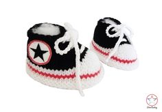 Baby Booties Converse style Trainers Black by StarBabyKnitwear