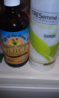 Prepoo mix: Aloe Vera Juice, TRESemme Naturals and Jamaican Black Castor Oil. ~~~~Now this I like! Aloe & Condish  for moisture. Castor Oil to seal but I would use a leave in to Leave In.