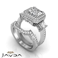 Halo Pre-Set Princess Diamond Engagement Ring GIA F VS2 14k White Gold 2.75 ct | eBay
