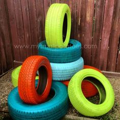 """Paint tyres with cans of RustOleum Ultra Cover 2x along with a clear coat of the same brand. These ones have been fixed together to make a 'Tyre Climber' ("""",)"""