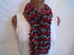Hey, I found this really awesome Etsy listing at http://www.etsy.com/listing/118664463/knitted-ruffle-scarf-black-red-gray-fall