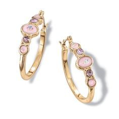 Play up your fashion personality with these unique goldtone hoop earrings with colored faceted rhinestones and opalesque faux stones. Earrings: Pierced, diameter with secure-lock Click It Joint and Catch clutch· Bling Bling, Faux Stone, Affordable Jewelry, Jewelry Branding, Jewelery, Fashion Jewelry, Hoop Earrings, Sterling Silver, Lavender