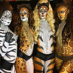 It's jungle here @lisa_spring13 @livyyy Bodypaint by @paula.silva.artistry * @zhantrachicagoent * #halloween #costume #cheetah #cheetahmakeup #dressup #nightclub #shay #chicago #jungle #animals #instagood #photooftheday #amazing #art #bodypaint #photography #makeup #love #myjob #professonal #dancer #happyhalloween #beautiful