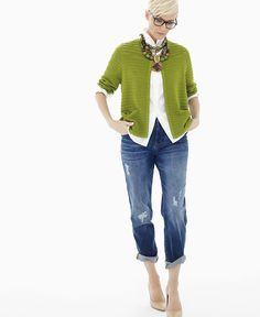 We love the boyfriend jean for a chic Saint Patrick's Day look.