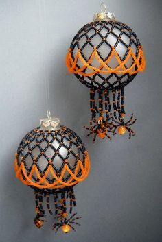 Halloween Ball Ornament with Spiders  Pattern  Lush by LushBeads, $10.00