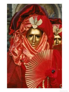 Mask at Carnival, Venice, Italy Photographic Print