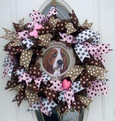 Basset Hound Mesh Wreath Dog Wreath  Door Decor Pet Wreath Hound Pink Brown by MeshWreathsnMore on Etsy