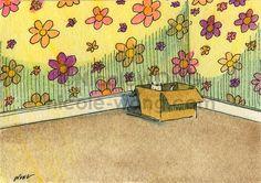 Original ACEO Painting -- Hiding