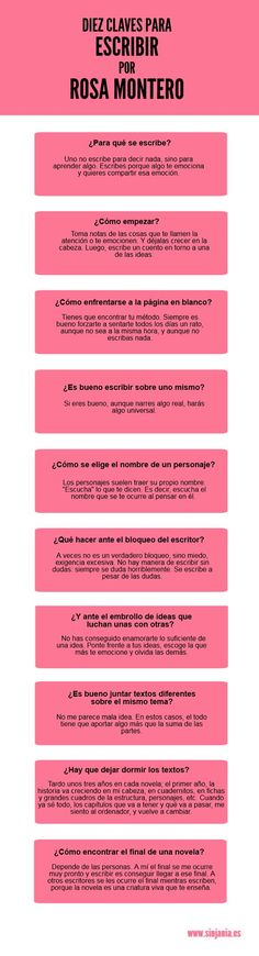 Diez claves para escribir por Rosa Montero - Comunidad Todoele
