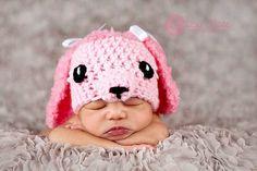 newborn girl pink poodle hat newborn by WeeBeeUniquesByJulie, $25.00