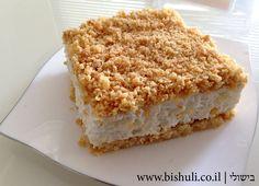 Cheese Crumb Cake Recipe  עוגת גבינה פירורים - בישולי