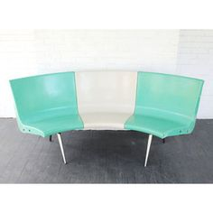 "Brunswick Bowling Alley Seats (""Go back to the bowling alley with its plastic seating, polished lanes and timelessly unfashionable shoes. A composition of three seats in teal and cream, this curved bench dates to the 1940s. Perfect for a breakfast nook or conversation space."")"