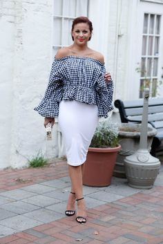 gingham off the shoulder top, black and white summer style, the perfect gingham outfit, how to style a white pencil skirt // via @fashionablylo