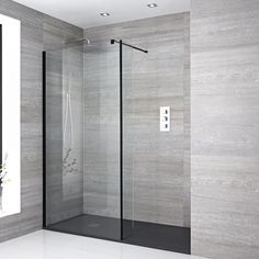 Milano Nero - Recessed Walk-In Shower Enclosure with Slate Tray and Return Panel. Milano Nero - Re