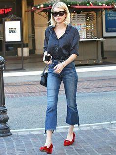 1c639c308ad Emma Roberts wears Mother frayed hem jeans
