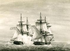 Continental Navy sloop Providence in battle with HMS Diligent, 7 May 1779. Artwork by Warren. Image depicts the Continental Navy sloop Providence under the Command of Hoysted Hacker in battle with HMS Diligent off Sandy Hook on 7 May 1779.