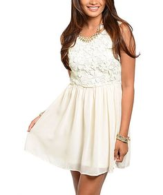 Look what I found on #zulily! Ivory Lace Fit & Flare Dress - Women by 24 7 Frenzy #zulilyfinds