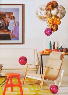 cluster of disco balls and glass bubbles (AD Spain via ECLECchic)