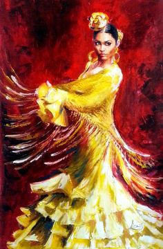 Original Oil Painting Flamenco Dancer - Yellow Dress - Large Size - Tango Passion - Latin Woman Dancing Red Hot - Ready To Hang Spanish Dancer, Dance Paintings, Flamenco Dancers, Dance Pictures, Dance Art, Fantastic Art, Figure Painting, Female Art, Illustration Art