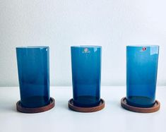 Three vintage Iittala drink glasses  named 'I Series ' by Timo Sarpaneva, 1969, Made in Finland
