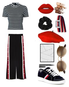 """""""Striped"""" by polivorejoelle ❤ liked on Polyvore featuring Tommy Hilfiger, T By Alexander Wang, Miss Selfridge, Lime Crime, Maybelline, Gucci, red, striped and navyblue"""