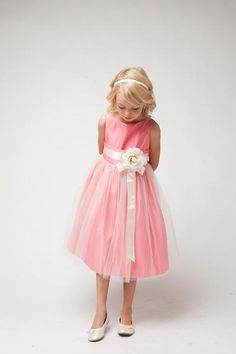 Sweet Kids Girls Coral Ivory Floral Accent Junior Bridesmaid Dress - Coral Dresses - Ideas of Coral Dresses Coral Flower Girl Dresses, Tulle Flower Girl, Coral Dress, Tulle Dress, Satin Dresses, Flower Girls, Ribbon Flower, Princess Flower, Satin Tulle