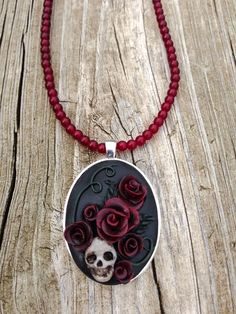 Halloween Polymer Clay Skull Necklace by ArtfulParadox on Etsy, $35.00